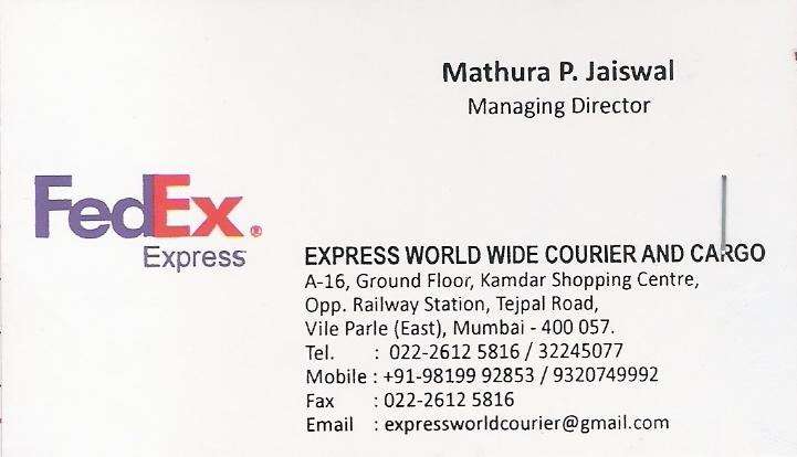 Fedex international near vile parle e 24 hours courier for Business card fedex